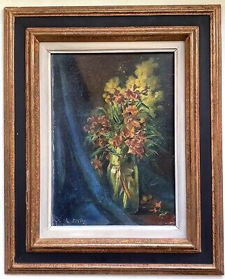19th Century French Oil Impressionist Painting Vase of Flowers by Louis PIVOT