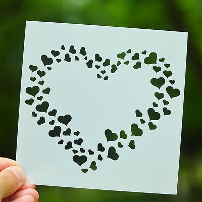 love heart layering stencils scrapbooking album masking painting template toolPM