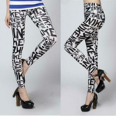 Women Mid Rise Alphabet Letters Printed Leggings Ankle-Length Workout Yoga Sport