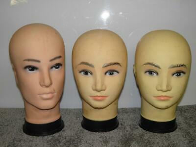Three Vintage Shop Display Mannequin Heads For Hat or Wig Modelling/Display