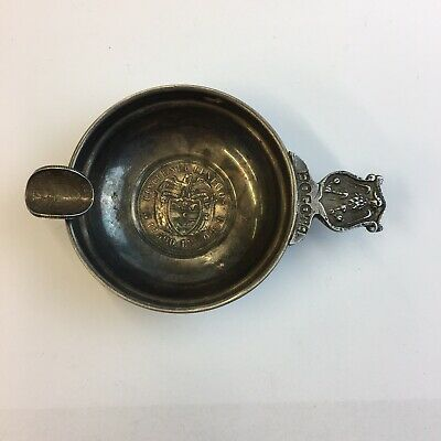 """Solid """"900"""" Silver Colombian Coin Ashtray Bogota 12.500 Ley 10cm Long"""