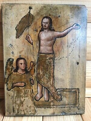 "Antique 19c Russian Orthodox Hand Painted Wood Icon""The Resurrection of Christ"""