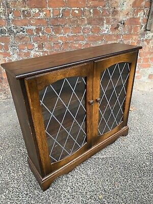 Glass-Fronted Two-Door Oak Reproduction Bookcase - Lead Glass Display Cabinet