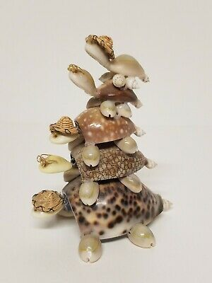 Vintage Seashell  Stacking Turtle Bobble Head Figurine
