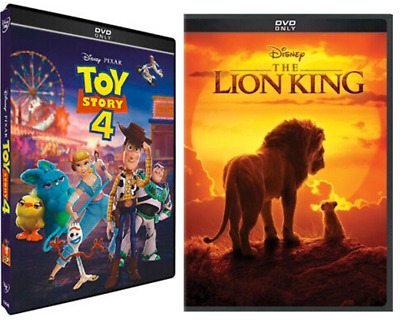 Lot 2 DVDs Toy Story 4 (DVD, 2019) The Lion King (DVD, 2019) Fast Shipping!!!