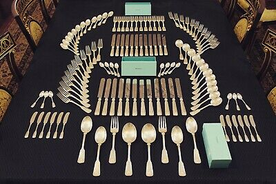 COMPLETE 118 Pce Tiffany Shell & Thread Sterling Flatware Silverware Set For 12