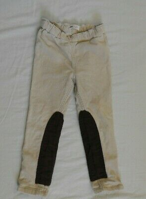 H&M Girls Cream and Brown Corduroy Trousers Age 3-4 Years