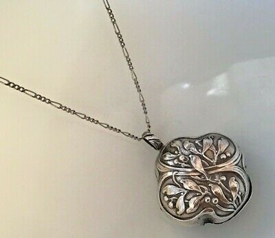 French Solid Silver Mistletoe Chatelaine Rattle Pendant Christmas Ornament Gift