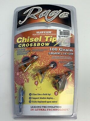 "NEW Rage Chisel Tip SC - Crossbow Broadheads - 1.6"" Cut - 100 Gr (3 Pack) 60200"