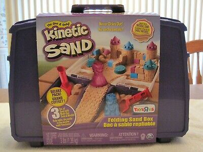 Spin Master Kinetic Folding Sand Box 3 Lbs Sand With Tools And Toy Molds--New