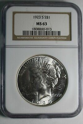 1923 S MS63 NGC Peace Silver Dollar #013