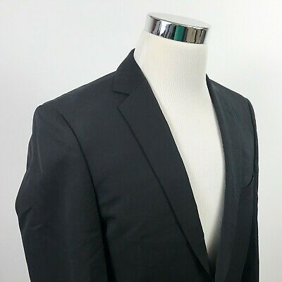 Hugo Boss Selection 36R Howard Court High Twist Wool Black Two Button Vented