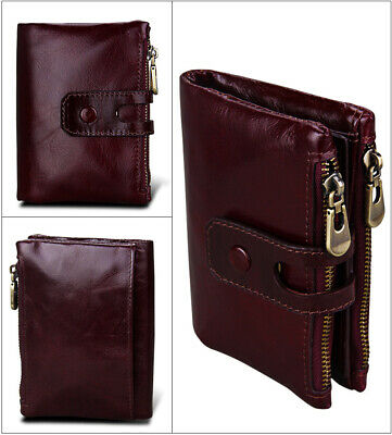 Genuine Leather Men Wallet Zipper&Hasp Male Short Coin Purse RFID AntimagneticQU