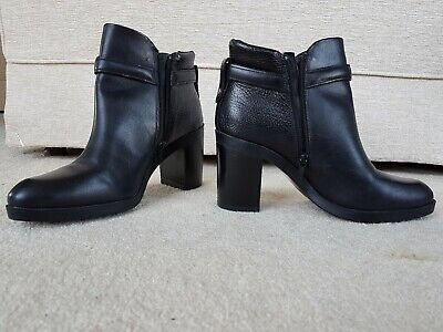 rrp £85 M/&S AUTOGRAPH Real LEATHER High Heel ANKLE BOOTS ~ Size 6.5 ~ OX BLOOD