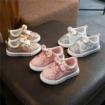 Children Baby kids Girls Bling Sequins Bowknot Crystal Run Sport Sneakers Shoes