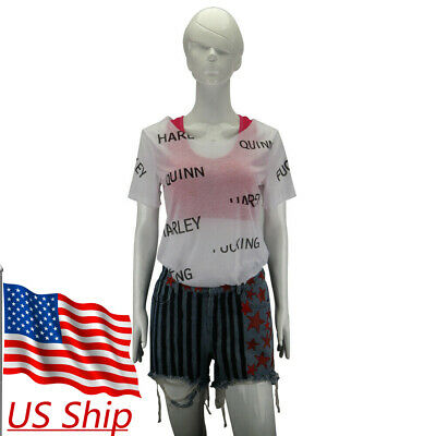 Birds of Prey Harley Quinn Vest T-Shirts Short Pants Full Set Cosplay Costumes