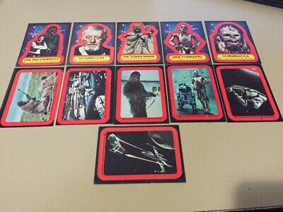 Star Wars - Series 2 (RED) - Complete 11 Card Sticker Set - 1977 Topps - NM