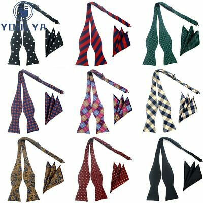 Self-Tied Bow Hanky Set Plaid Paisley Polka Dot Silk Jacquard Woven Men Bowtie