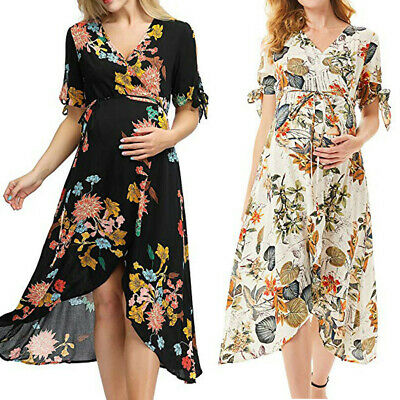 Women Maternity Pregnant Gown Short Sleeve Print Floral Frenulum Long Dresses