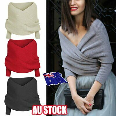 Women Winter Warm Knit Sweater Tops Scarf With Sleeve Wrap Shawl Scarves Hot AU