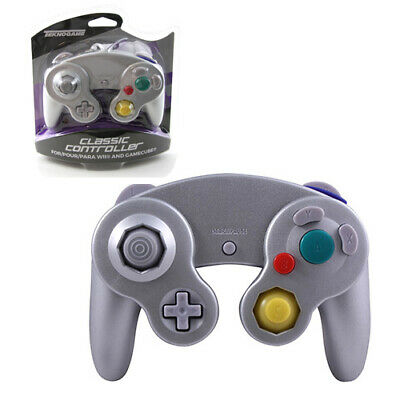 Wii - SILVER PLATINUM Rumble Controller Pad Teknogame (Gamecube Wired Gamepad)