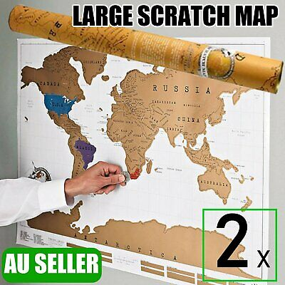 2x Large World Scratch Map Travel Edition Poster Layer Off Where You Travel Atla