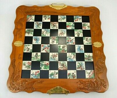 Vtg Chinese 8 Fairies Wooden Chess Board Carved Stone Pieces Dragon/Phoenix