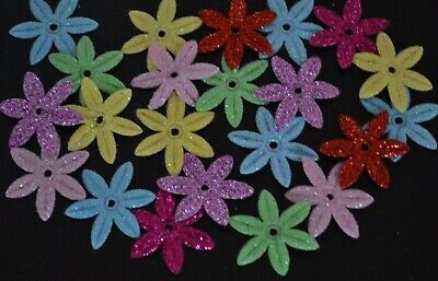 22 GLITTER WOVEN FLOWERS Shapes Scrapbooking Embellishment DIY Craft Tags Glue