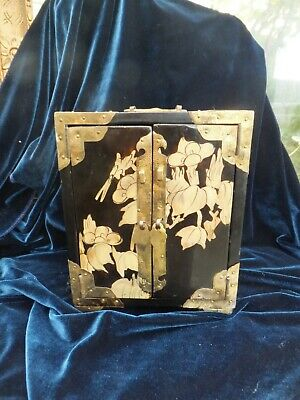 Antique Chinese Lacquer Jewellery  Box Cabinet Pearl  Inlaid Silk Lined Drawers