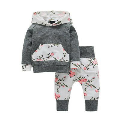 Toddler Infant Baby Boys Girls Long Sleeve Floral Hooded Tops+Pants Outfits Sets