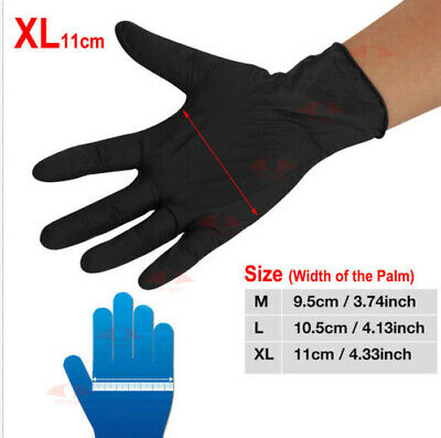 100x Black Disposable Nitrile Gloves Mechanic Medical Rubber Tattoo(Latex Free)