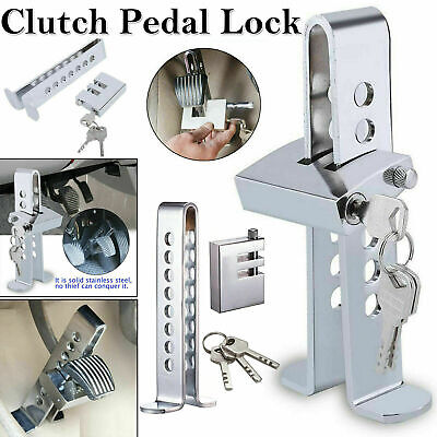 Auto Car Brake Clutch Pedal Lock Stainless Anti-Theft Strong Security + 3 Keys