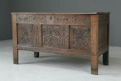 Antique Oak Carved Coffer Blanket Box Chest Storage