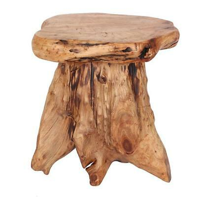 Cedar Root Wood Wooden Stool Table Side Lamp Stand Hand Finish Ethically Sourced