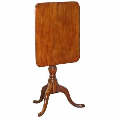 Circa 1860 Victorian Tripod Side End Lamp Table In Walnut With Tilt Top Function