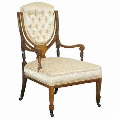 Stunning Rosewood Sheraton Revival Chesterfield Library Armchair Part Of A Suite