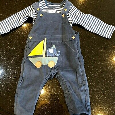 New Marks & Spencer Baby Boy Soft Cord Dungaree Outfit 2 pce Set Elephant 0-12 m