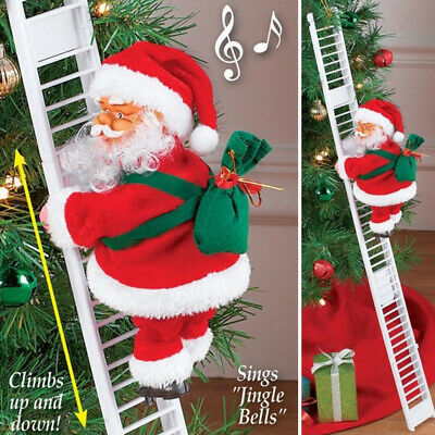 Electric Climbing Ladder Santa Claus Christmas Party Music Figurine Decor Gift