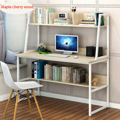 L-Shaped Computer Desk Home Office Workstation Corner Table with Shelves Writing