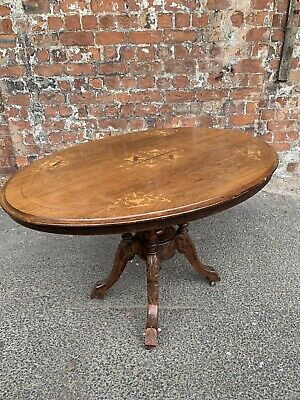 Antique Victorian Inlaid Mahogany Oval Folding Breakfast Table / Tea Table