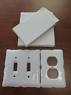 LOT of 2 WHITE PORCELAIN DOUBLE LIGHT SWITCH WALL PLATE OUTLET CERAMIC COVER NIB