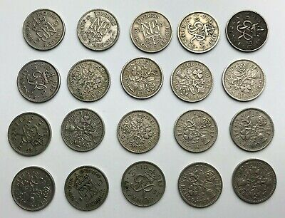 Job Lot of British - Pre Decimal - Sixpences - 6d Coins - George VI Elizabeth II