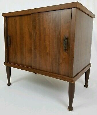 Mid-Century Record Album Cabinet End Table Stereo Stand Vintage