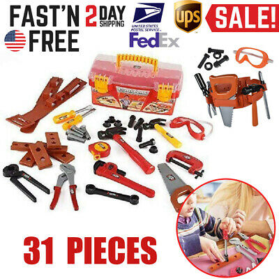 Toddler Boy Toy Tool Box Educational Pretend Play Girl Kids Learning Game 31 Pcs