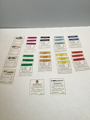 Monopoly NASCAR Edition Replacement Game Parts PROPERTY DEED CARDS ONLY 1997