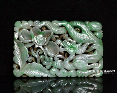 9cm China natural Old Emerald Jade Hand-carved Dragon Pendant Amulet AJJO
