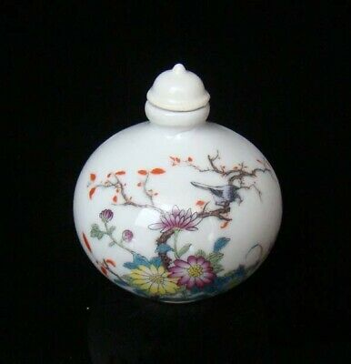 Collectible 100% Handmade Painting Porcelain Snuff Bottles Flower Bird 48
