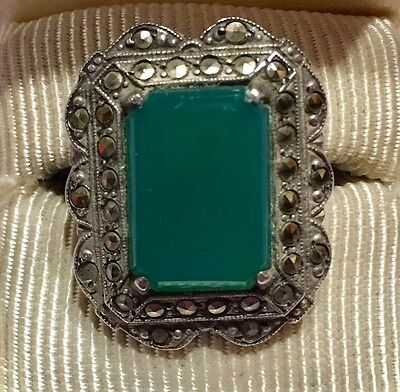 Vtg Green Chrysoprase Chalcedony Marcasite S Silver Cocktail Ring Sz 6.75-Estate