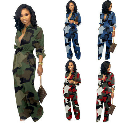Women Camouflage Long Sleeve Jumpsuit Button-up Pocket Belt Loose Romper Casual