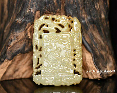 6.3cm China natural Old HeTian Jade Hand-carved Auspicious Pendant Amulet AJJO